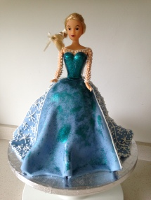 Chocolate fudge cake dressed up to make a favourite character from Frozen.